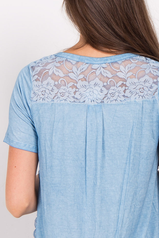 Light Blue Solid Lace Accent Top