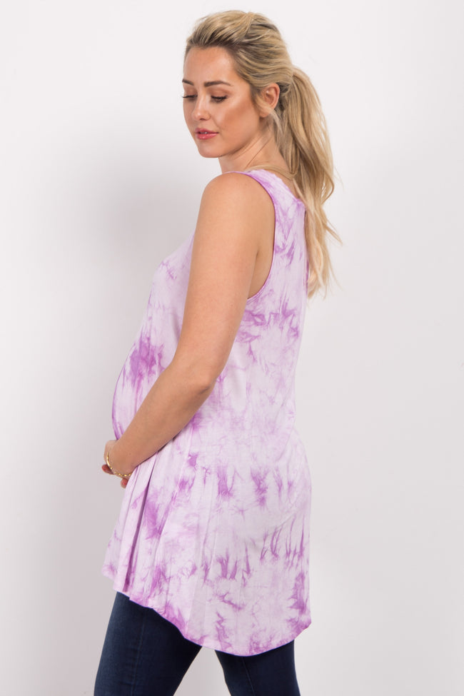Lavender Tie Dye Sleeveless Maternity Top