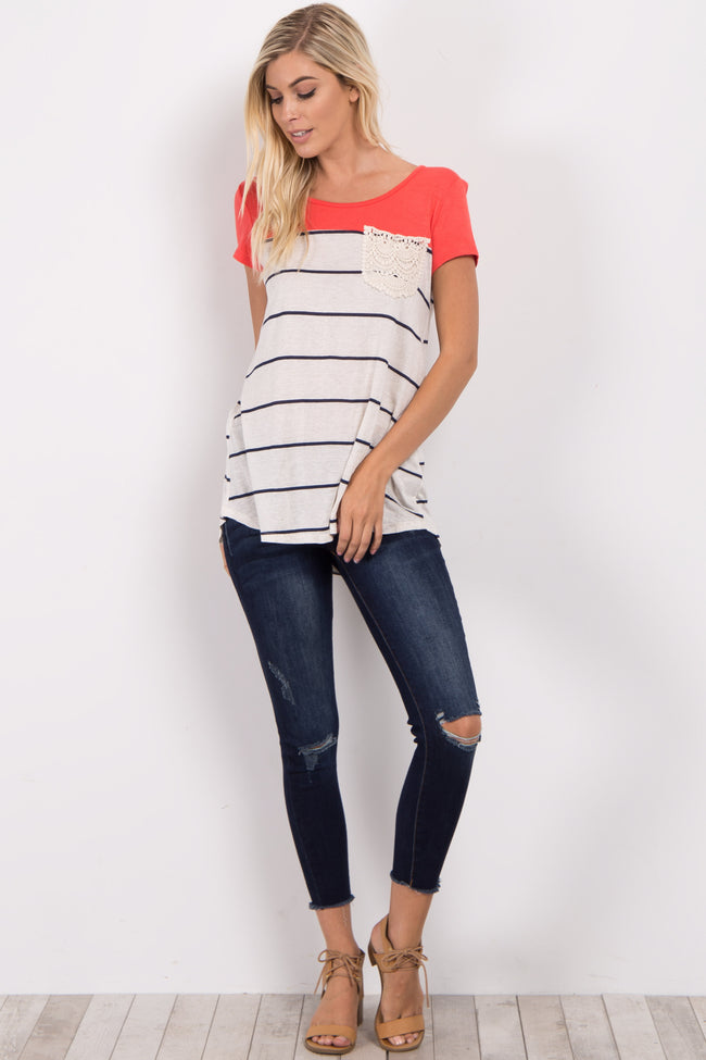 Coral Striped Crochet Pocket Top