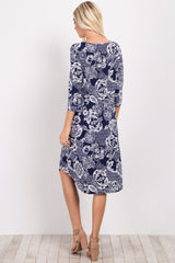 Navy Blue Printed Crisscross Dress
