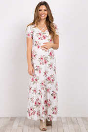 Ivory Floral Crisscross Maternity Maxi Dress