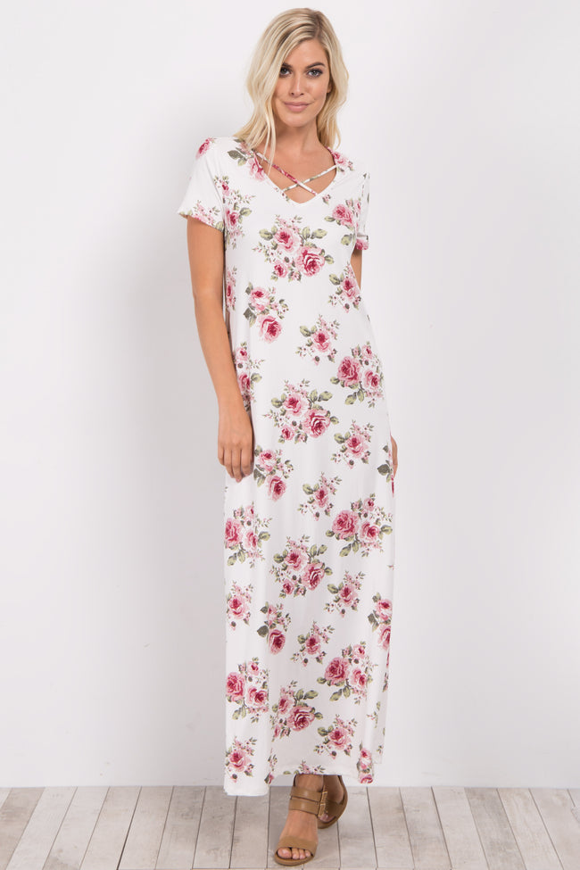 Ivory Floral Crisscross Maxi Dress