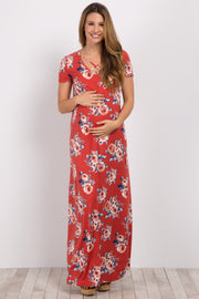 Red Floral Crisscross Maternity Maxi Dress