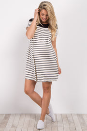 Ivory Colorblock Striped Short Sleeve Maternity Dress
