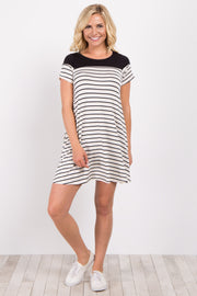 Ivory Colorblock Striped Short Sleeve Dress
