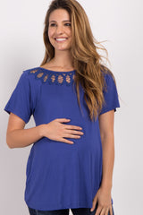 Royal Blue Cutout Crochet Maternity Top
