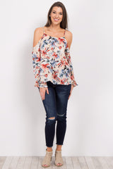 Beige Floral Cold Shoulder Top