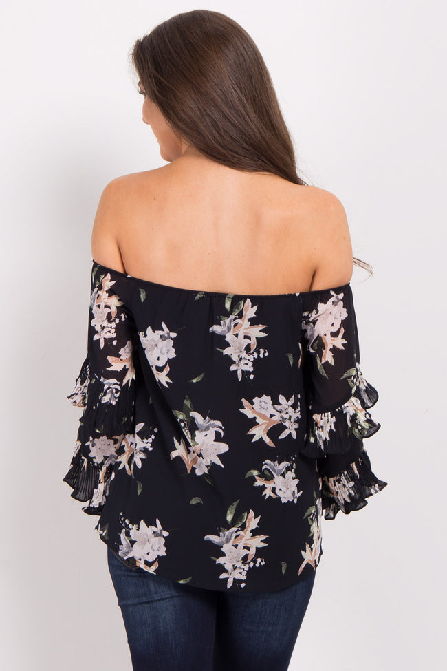Black Floral Off Shoulder Pleated Ruffle Top
