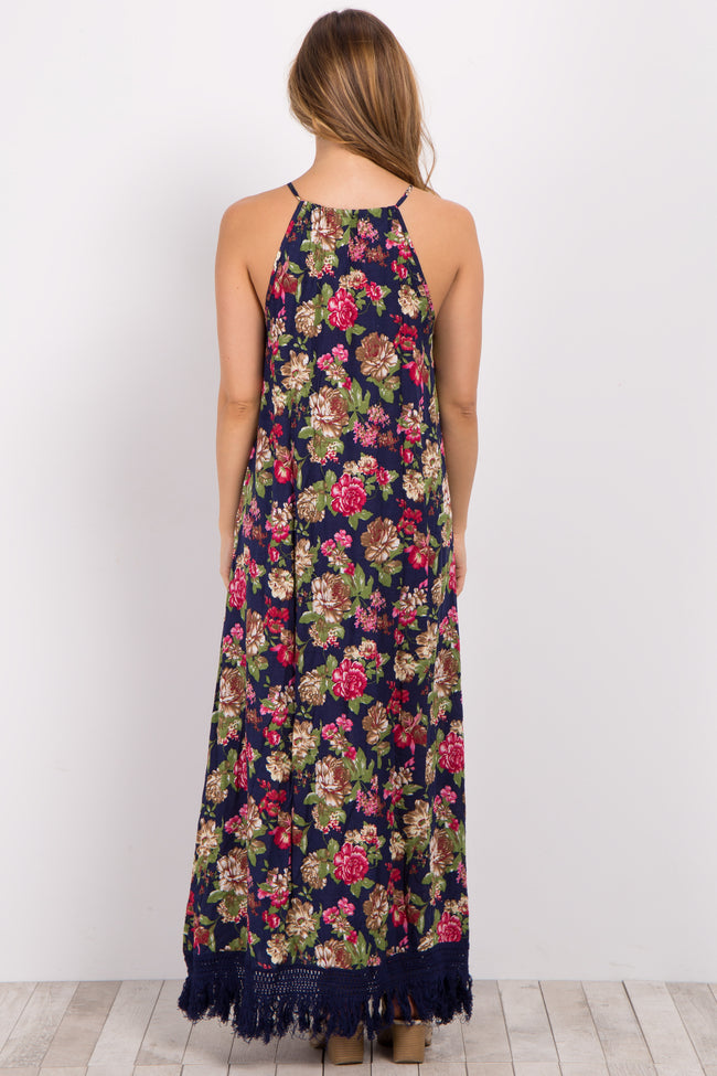 Navy Blue Floral Fringe Maternity Maxi Dress