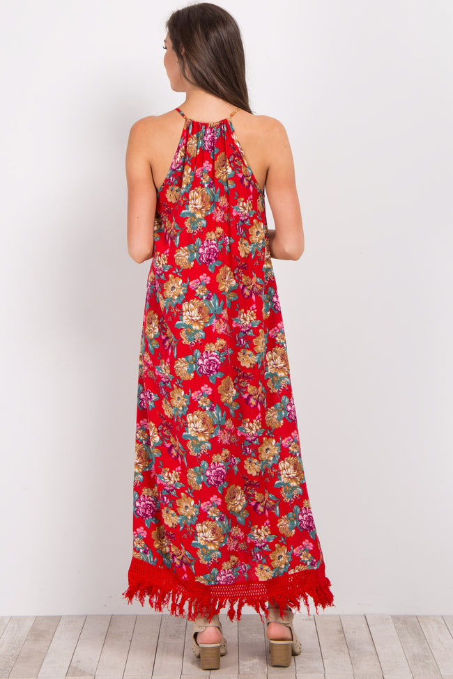 Red Floral Fringe Maxi Dress