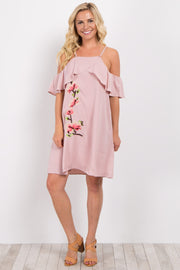 Pink Ruffle Trim Embroidered Open Shoulder Dress