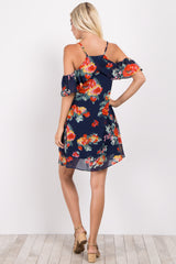 Navy Blue Abstract Floral Ruffle Trim Dress