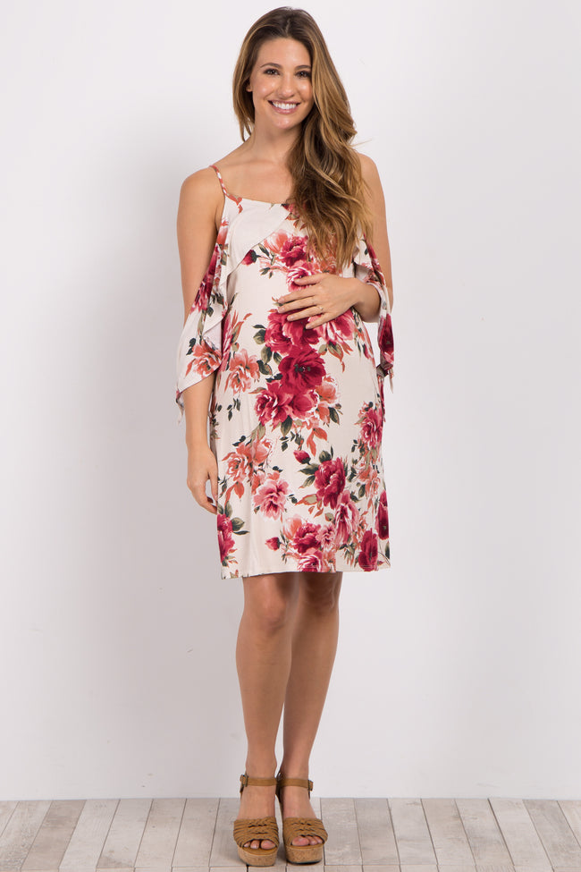 Ivory Floral Cold Shoulder Tie Dress