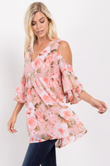 Pink Floral Chiffon Cold Shoulder Top