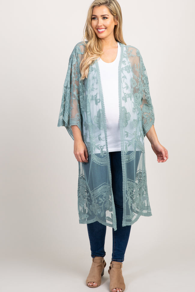 Green Lace Mesh Long Maternity Cover Up