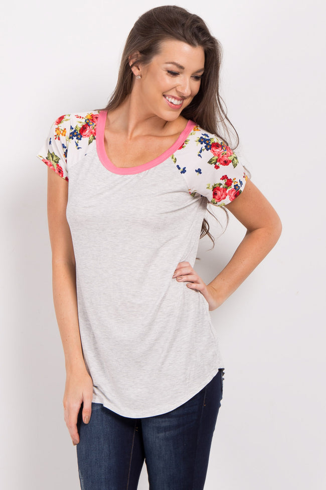 Coral Short Floral Sleeve Colorblock Top