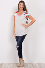 Coral Short Floral Sleeve Colorblock Maternity Top