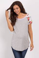Grey Lavender Short Floral Sleeve Colorblock Maternity Top