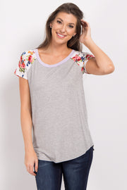 Grey Lavender Short Floral Sleeve Colorblock Top