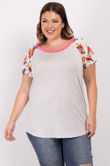 Grey Coral Short Floral Sleeve Colorblock Plus Maternity Top
