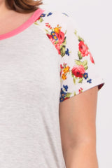 Coral Short Floral Sleeve Colorblock Plus Top