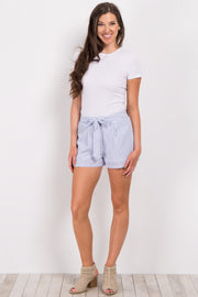 Blue Pinstripe Front Tie Shorts