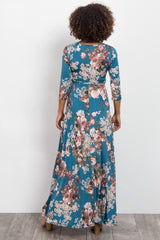Jade Floral Sash Tie Maternity/Nursing Dress