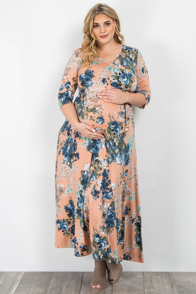 Peach Floral Sash Tie Plus Maternity/Nursing Maxi Dress