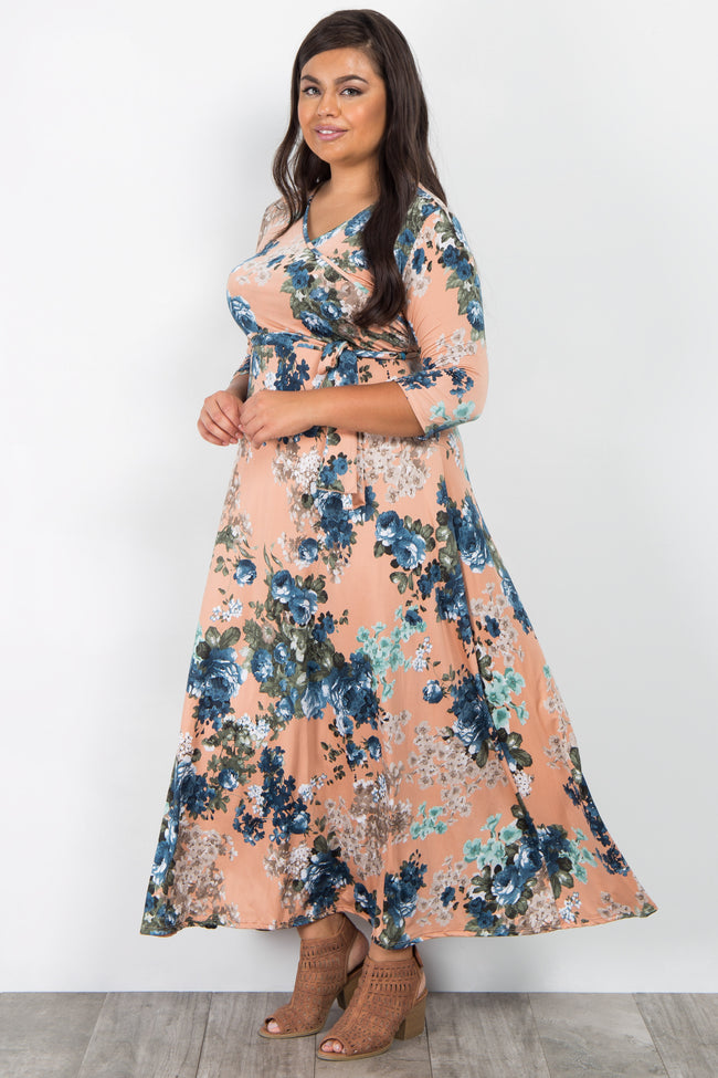 Peach Floral Sash Tie Plus Maxi Dress