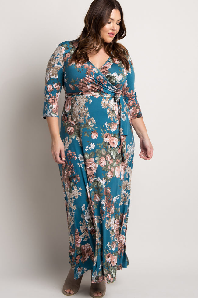 Jade Floral Sash Tie Plus Maxi Dress