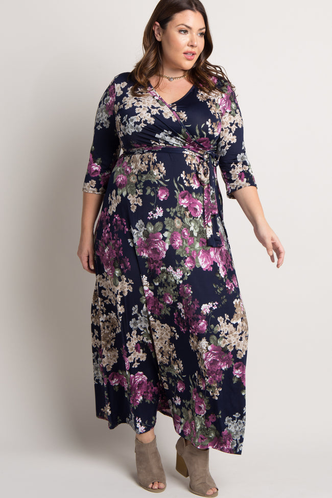Navy Floral Sash Tie Plus Maternity/Nursing Maxi Dress
