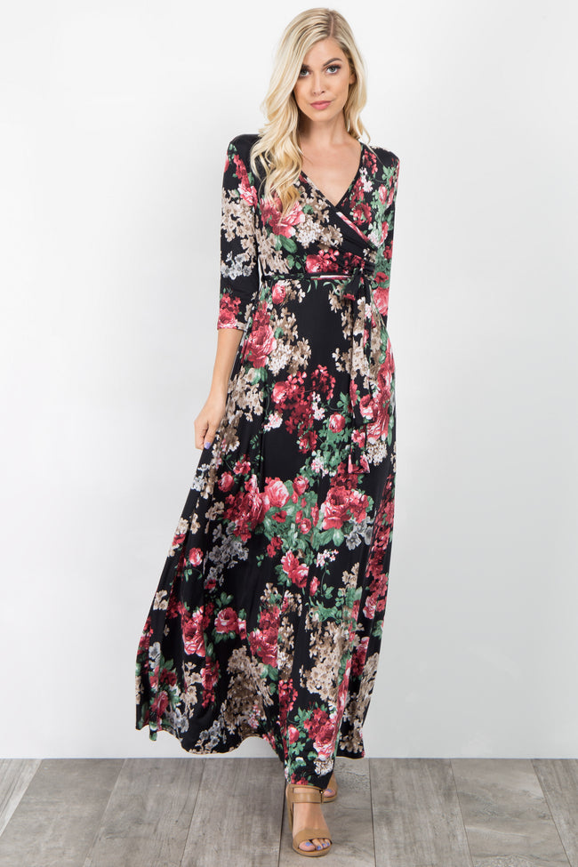 Black Pink Floral Sash Tie Dress