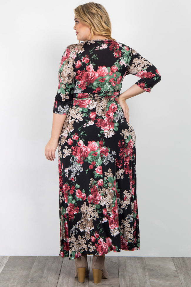 Black Pink Floral Sash Tie Plus Maternity/Nursing Maxi Dress