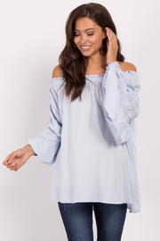 Light Blue Off Shoulder Smocked Sleeve Maternity Top