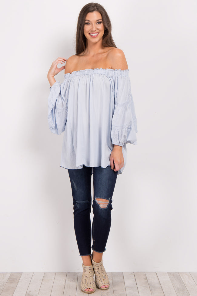 Light Blue Off Shoulder Smocked Sleeve Top