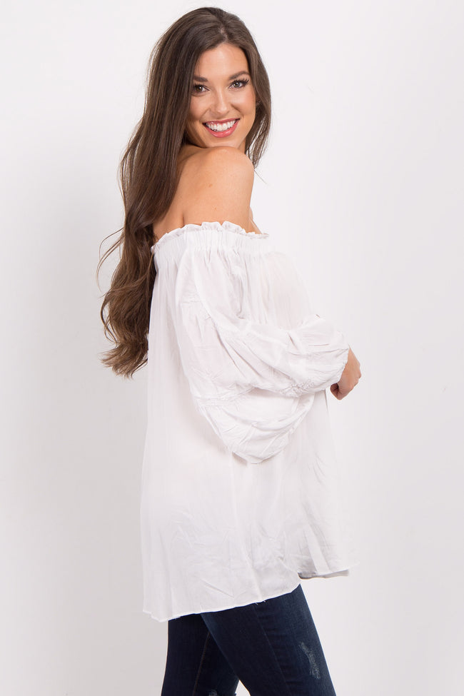 White Off Shoulder Smocked Sleeve Top