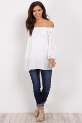 White Off Shoulder Smocked Sleeve Maternity Top
