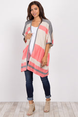 Coral Striped Knit Maternity Cardigan