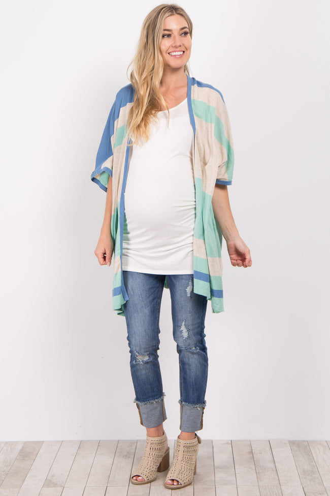 Blue Striped Knit Maternity Cardigan