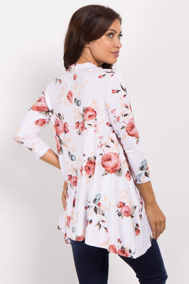 White Floral Mock Neck Cutout Front Maternity Top