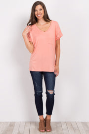 Coral V-Neck Pocket Front Top