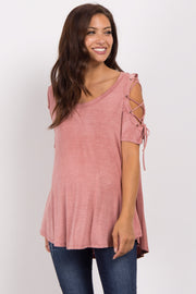 Pink Faded Lace-Up Open Shoulder Maternity Top