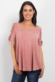 Pink Faded Lace-Up Open Shoulder Top