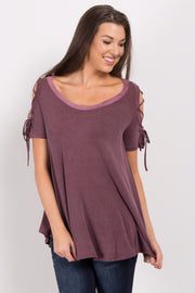 Purple Faded Lace-Up Open Shoulder Top