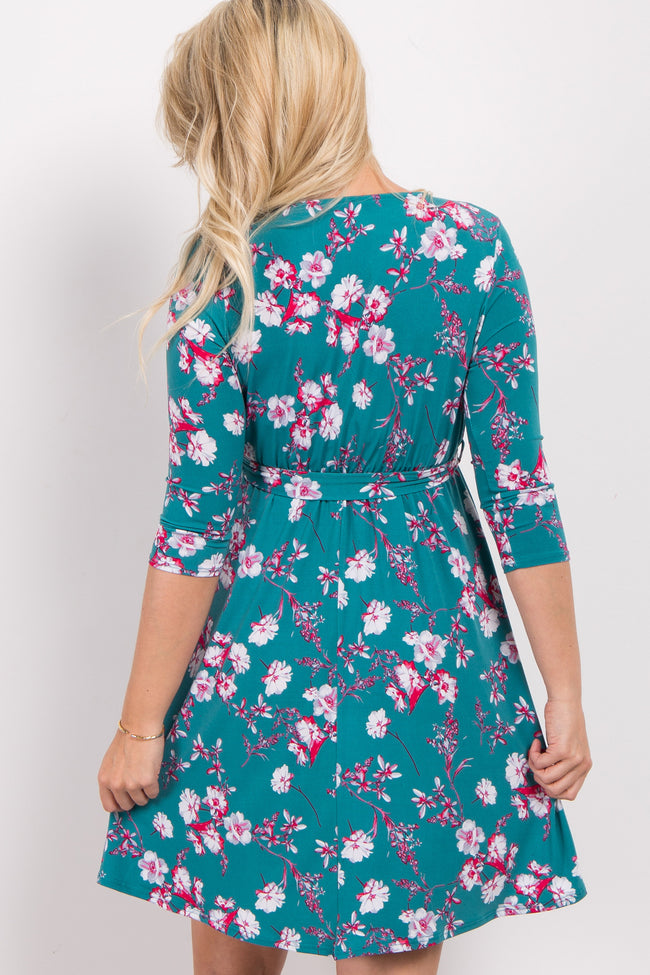Jade Floral Sash Tie Maternity/Nursing Wrap Dress