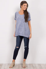 Blue Faded Wash Short Sleeve Top