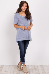 Blue Faded Wash Short Sleeve Maternity Top