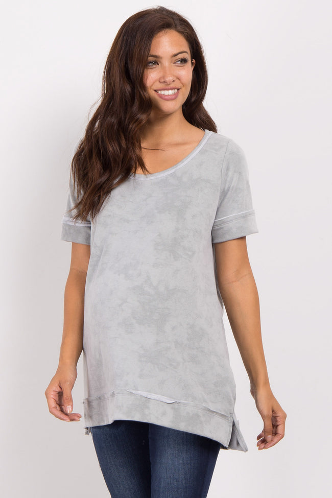 Light Olive Faded Wash Short Sleeve Maternity Top