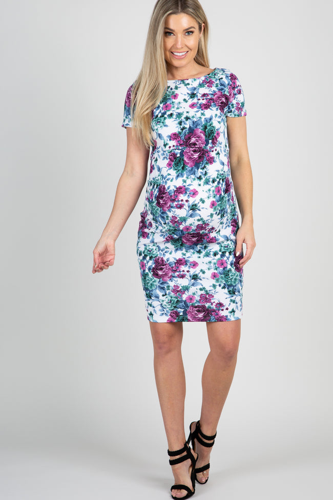 Ivory Floral Print Fitted Maternity Dress