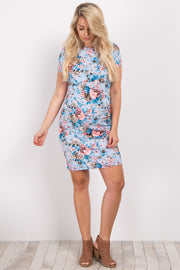 Light Blue Floral Print Fitted Maternity Dress
